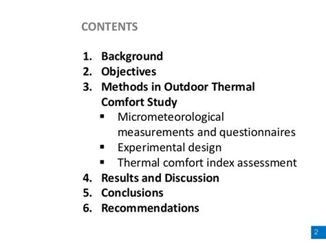 comfort study human thermal perception and outdoor thermal comfort under