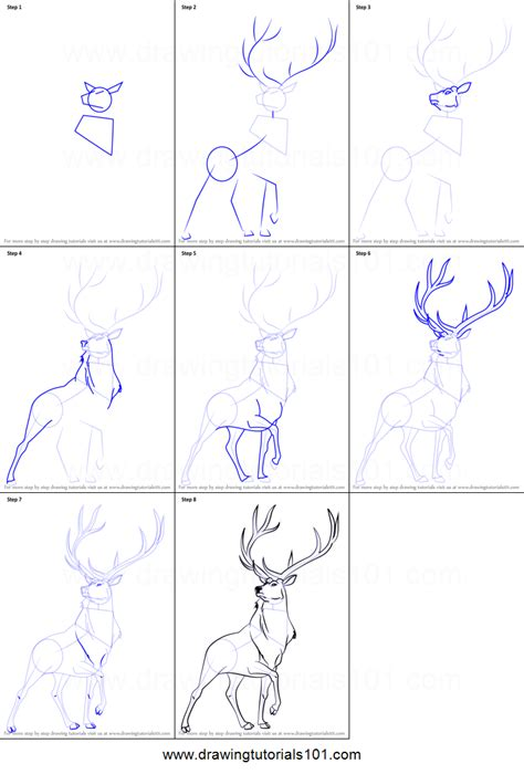 tutorial wapiti how to draw the elk from fantasia printable step by step