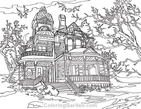 printable house pdf haunted house adult coloring page