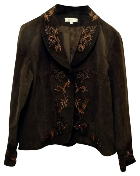 design work jacket coldwater creek suede leather embroidery detail size 16
