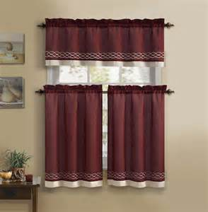 burgundy beige 3 kitchen curtain set 1 valance 2