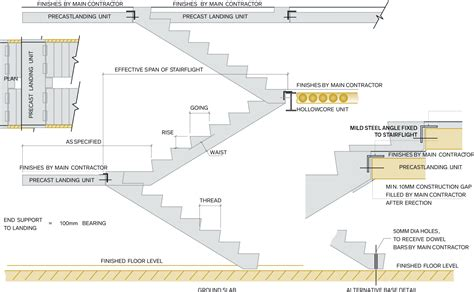 section through staircase precast concrete stairs stairs landings acheson