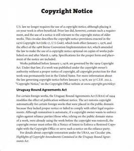 copyright template sle copyright notice 5 documents in pdf