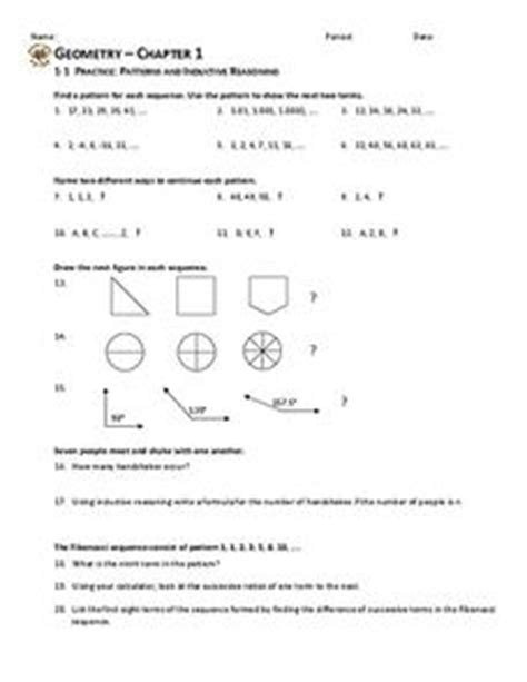 logic pattern worksheet patterns and inductive reasoning worksheet for 10th grade