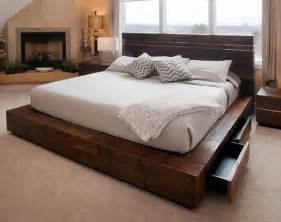Rustic Platform Bed With Drawers Unique Platform Beds Contemporary Rustic Reclaimed Woods