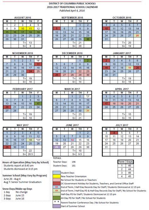 Columbia Schools Calendar Dcps Calendar 2017 My