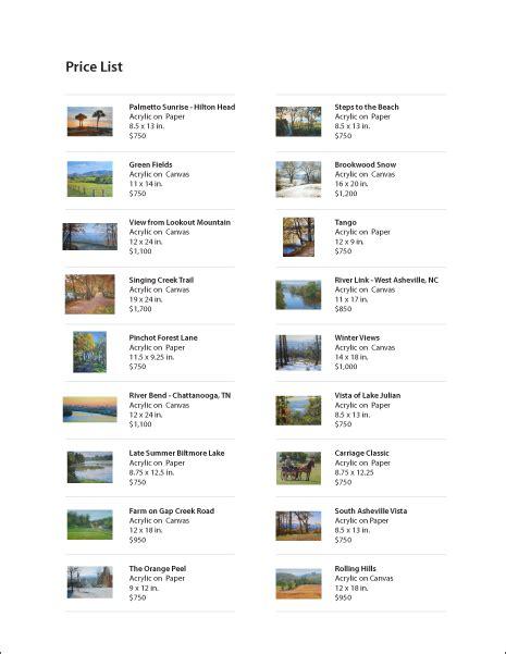 Wonderful How To Make A Fine Art Portfolio #3: Price-List-Page.png