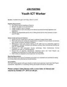 Cover Letter For Child And Youth Worker by Youth Ict Worker Posting 171 Mattagami Nation