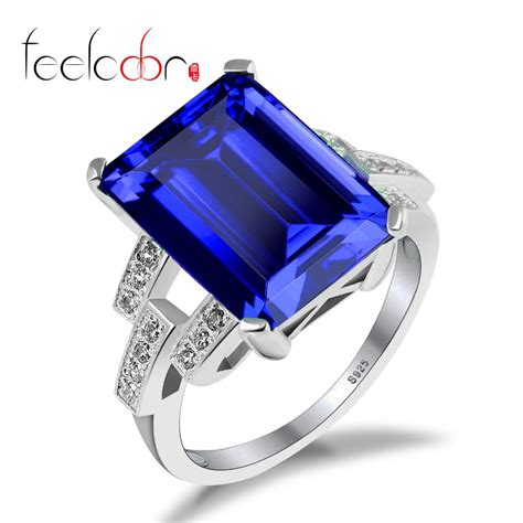 Blue Safir Sapphire 5 9ct luxury 9ct blue sapphire ring solid 925 sterling silver