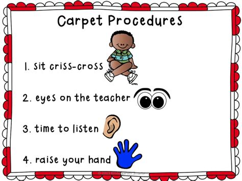 rug procedure carpet procedures poster and reminder cards kindergarten smarts