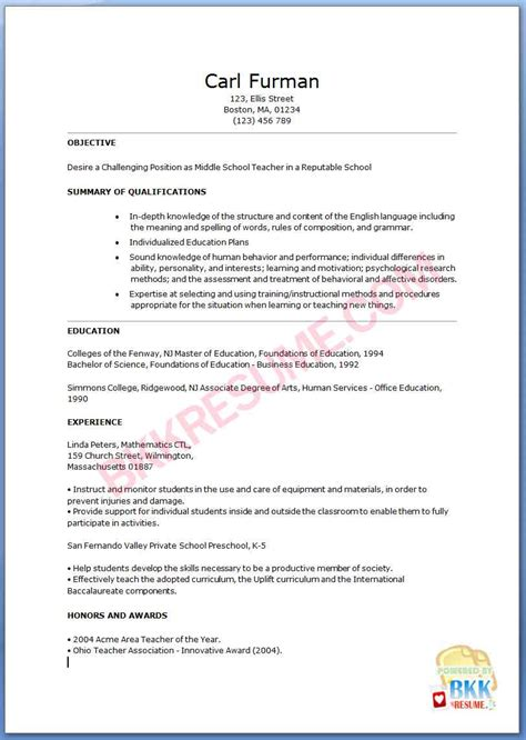 middle school teacher resume exles middle school