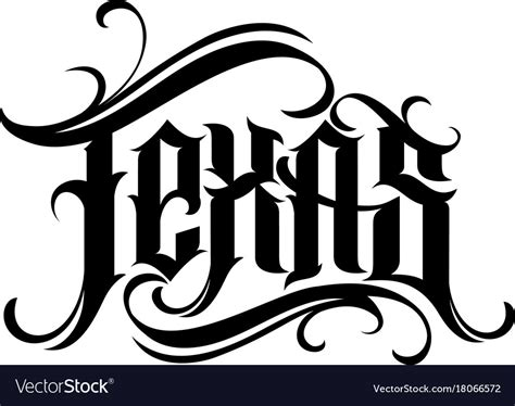 tattoo license texas lettering in style royalty free vector image