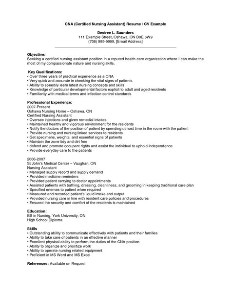 objective certified nursing assistant resume with