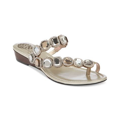 vince camuto silver sandals vince camuto idola sandals in silver steel lyst