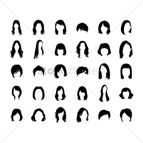 hairstyle graphic design set of women s hairstyle vector image 1475995