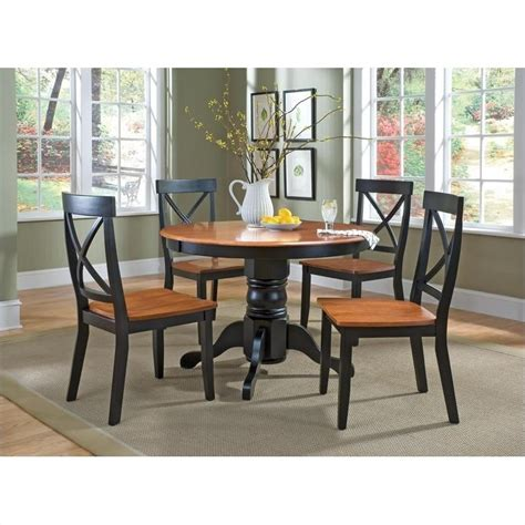 Cottage Oak Dining Table by Pedestal Casual Dining Table In Black And Cottage