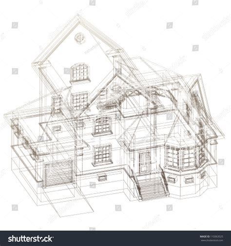 Architectural Background 3d Building Model Vector Stock Architectural Drawings Vector