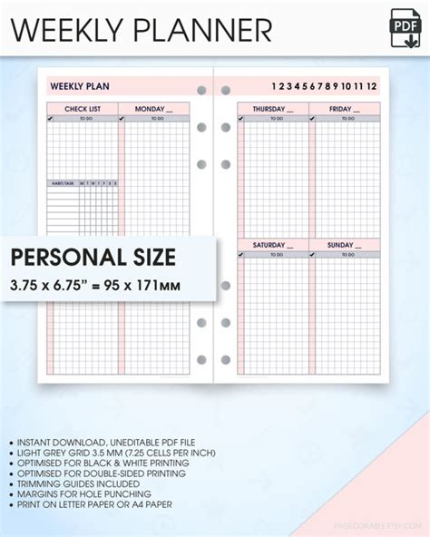 free printable planner 2016 personal size free printable personal size planner inserts weekly