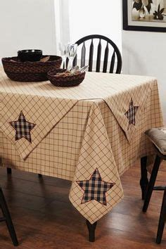 """Primitive Country 54"""" BLACK TAN GINGHAM LACE TABLECLOTH"""