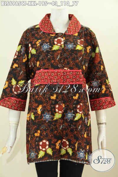 Blus Batik Cap Thalia Payet Jumbo blus batik jumbo 3l pakaian batik krah plisir istimewa dengan kain polos bahan adem proses cap