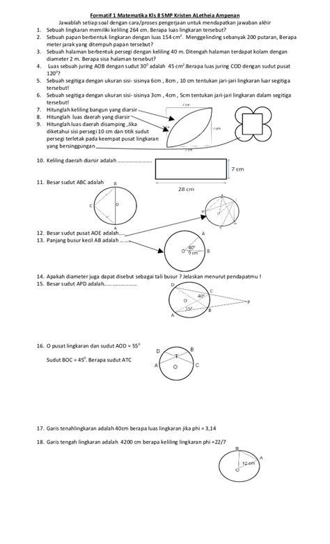 Mtk Kls 1 Smp Facil kls 5 matematika slideshare formatif 1 matematika kls 8
