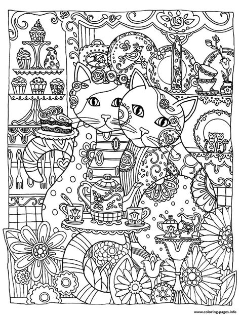 adult two cute cats coloring pages printable