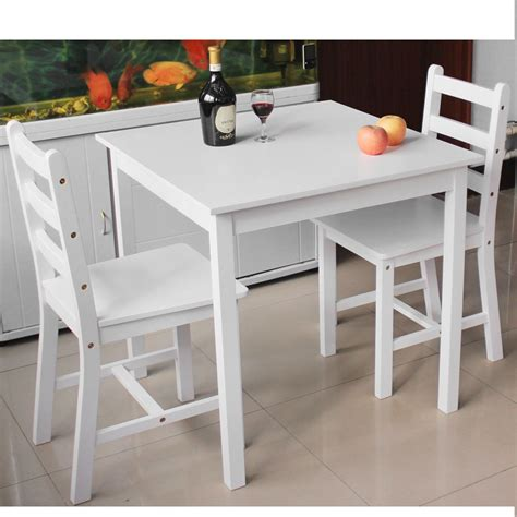 Small Desk And Chair Set Wooden Small Dining Table And 2 Chairs Set Contemporary White Grey Pine Ebay