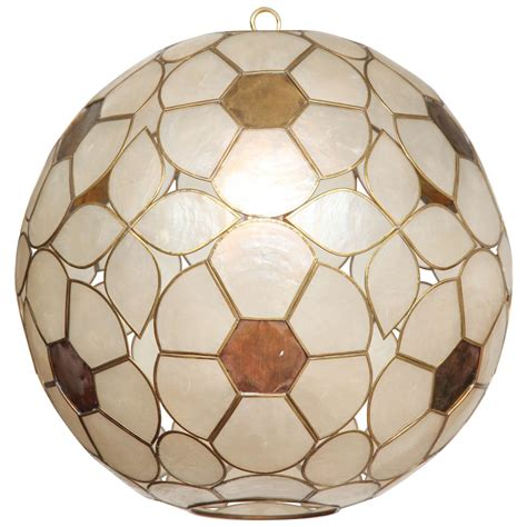 Capiz Shell Light Fixtures by 1960s Capiz Shell Floral Globe Light Fixture For Sale At