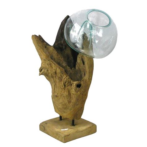eingangstüren holz glas wurzel holz glas objekt skulptur vase bali deko unikat ebay