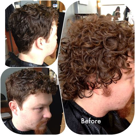 before after mens curly hair scissor comb technique