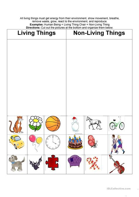 Living And Nonliving Worksheets by Living Nonliving Things Worksheet Free Esl Printable