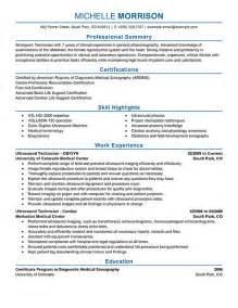 Sonographer Resume Sample Ultrasound Technician Resume Example Medical Sample