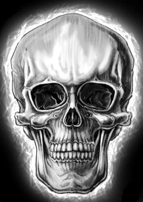 semi realistic skull  wickedworxdeviantartcom