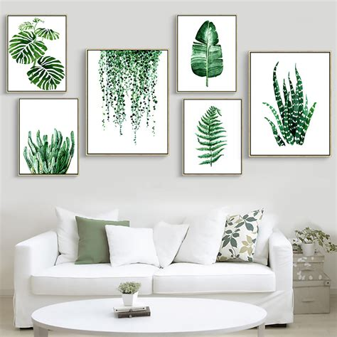 poster wohnzimmer modern green tropical plant leaves canvas print poster