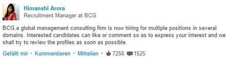 Anschreiben Bcg Beispiel Linkedin Recruiting Bewirb Dich Mit Einem Like