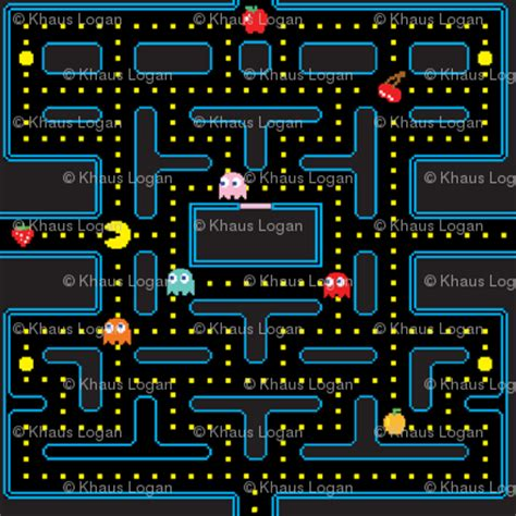 design pattern game pacman retro video game pattern fabric khaus spoonflower