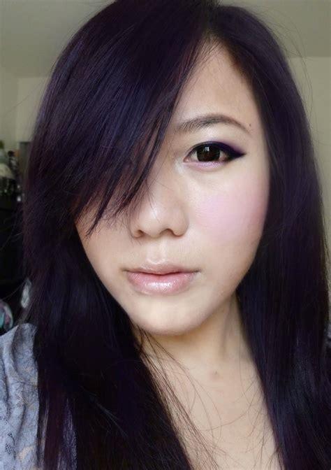old japanese ladies purple hair mishi thefaceshop black purple hair asian eyes eyeliner