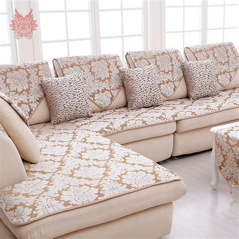 sofa cloth cover europe style beige with floral jacquard terry plush sofa