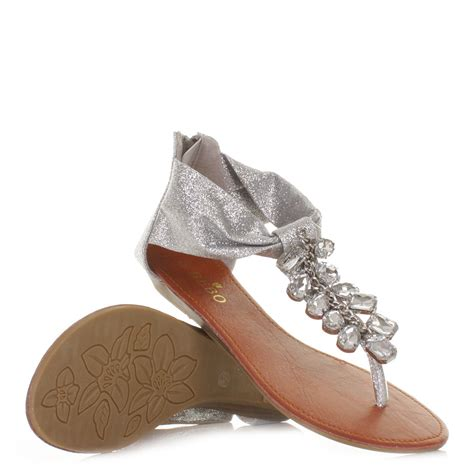 silver glitter sandals womens silver glitter diamante gem jewelled flat