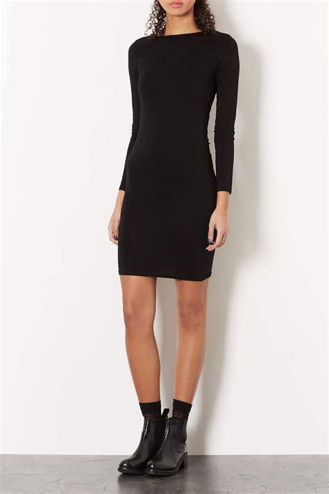 Topshop Black Mini Dress lyst topshop plain mini bodycon dress in black