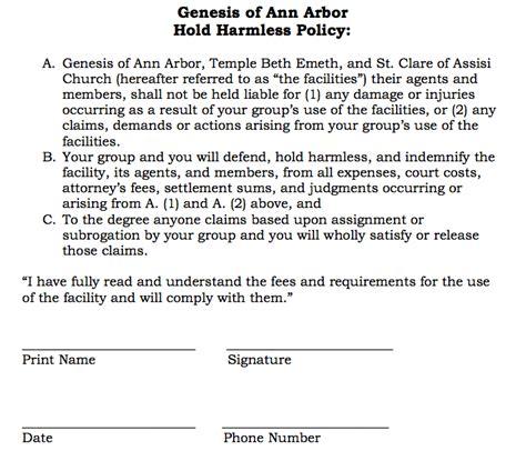 hold harmless agreement doc 400518 hold harmless agreements hold harmless