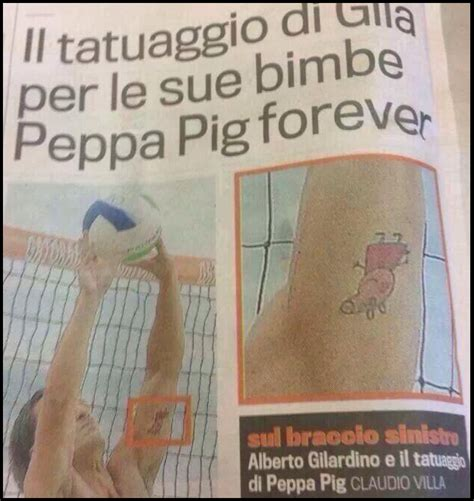 peppa pig tattoo football ink genoa s daniele portanova has a new