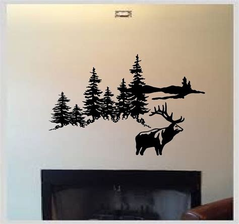 hunting decorations for home deer elk hunting mountain scene outdoors vinyl wall decal