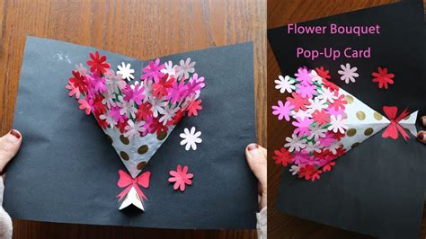 flower bouquet pop up card template diy flower bouquet pop up card paper crafts handmade craft