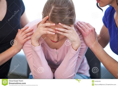how to comfort a crying man two women comforting crying girl royalty free stock photo