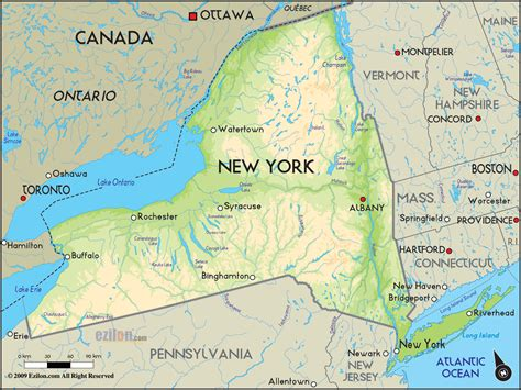map of new york usa geographical map of new york and new york geographical maps