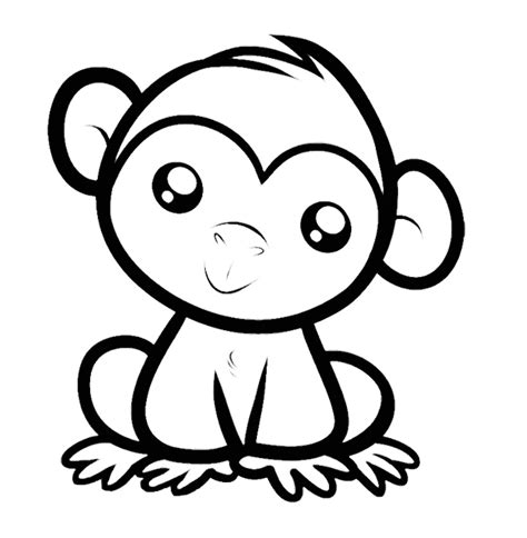 easy monkey coloring page 35 monkey coloring pages naughty and cute animal