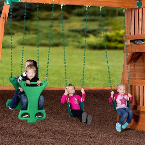Backyard Discovery 2 N 1 Safety Swing Liberty Ii Wooden Swing Set Playsets Backyard Discovery