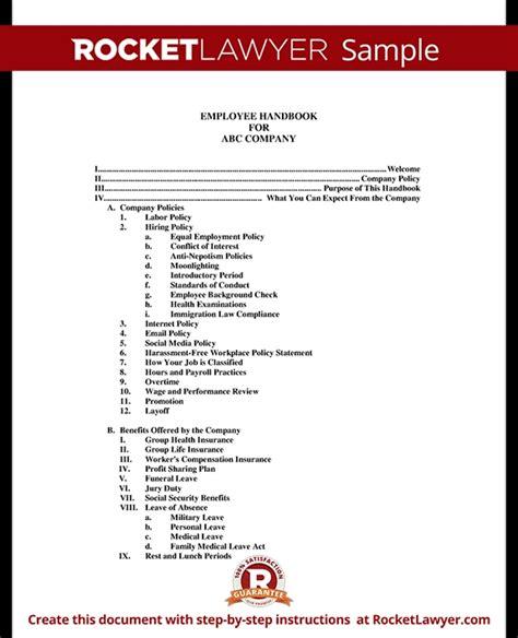 employee handbook template peerpex