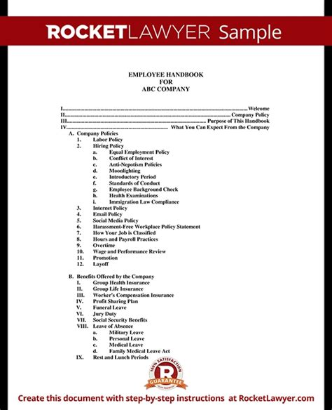 personnel handbook template employee handbook template peerpex